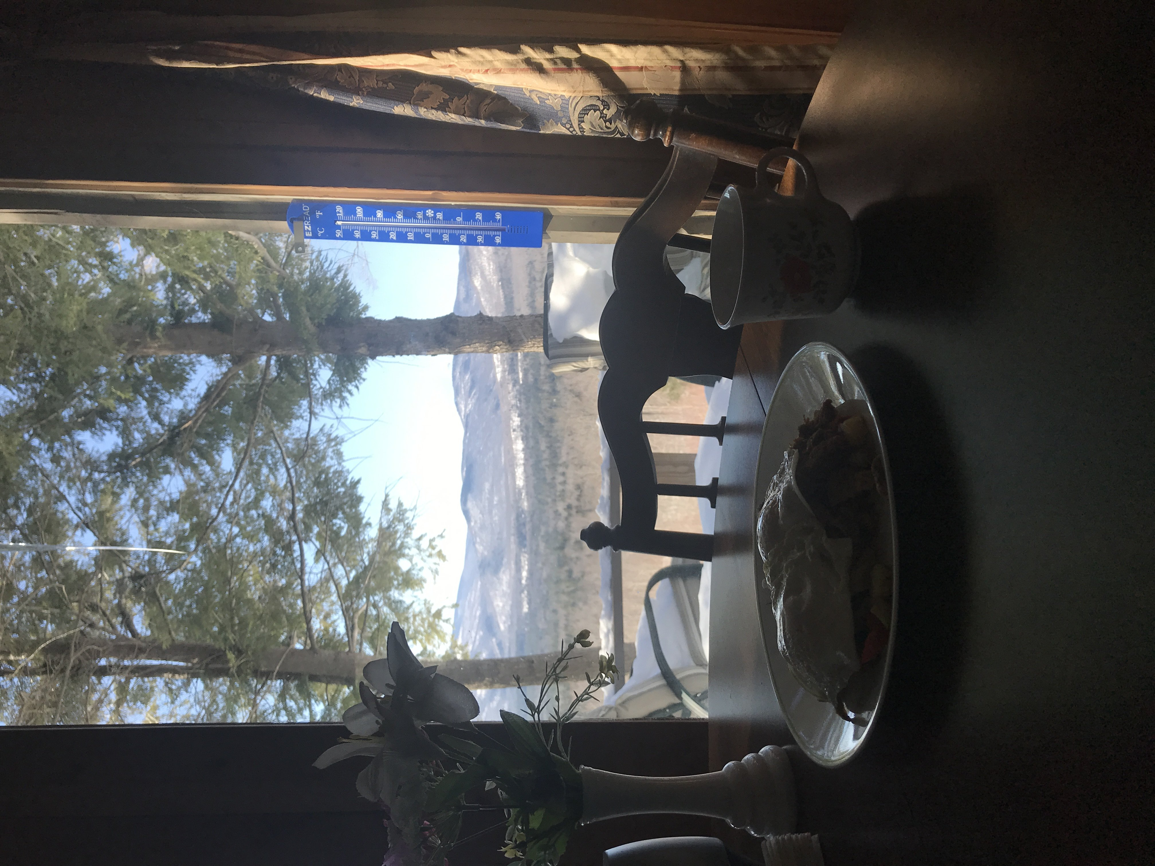 Breakfast on a table that looks out a window to a view of the mountains.