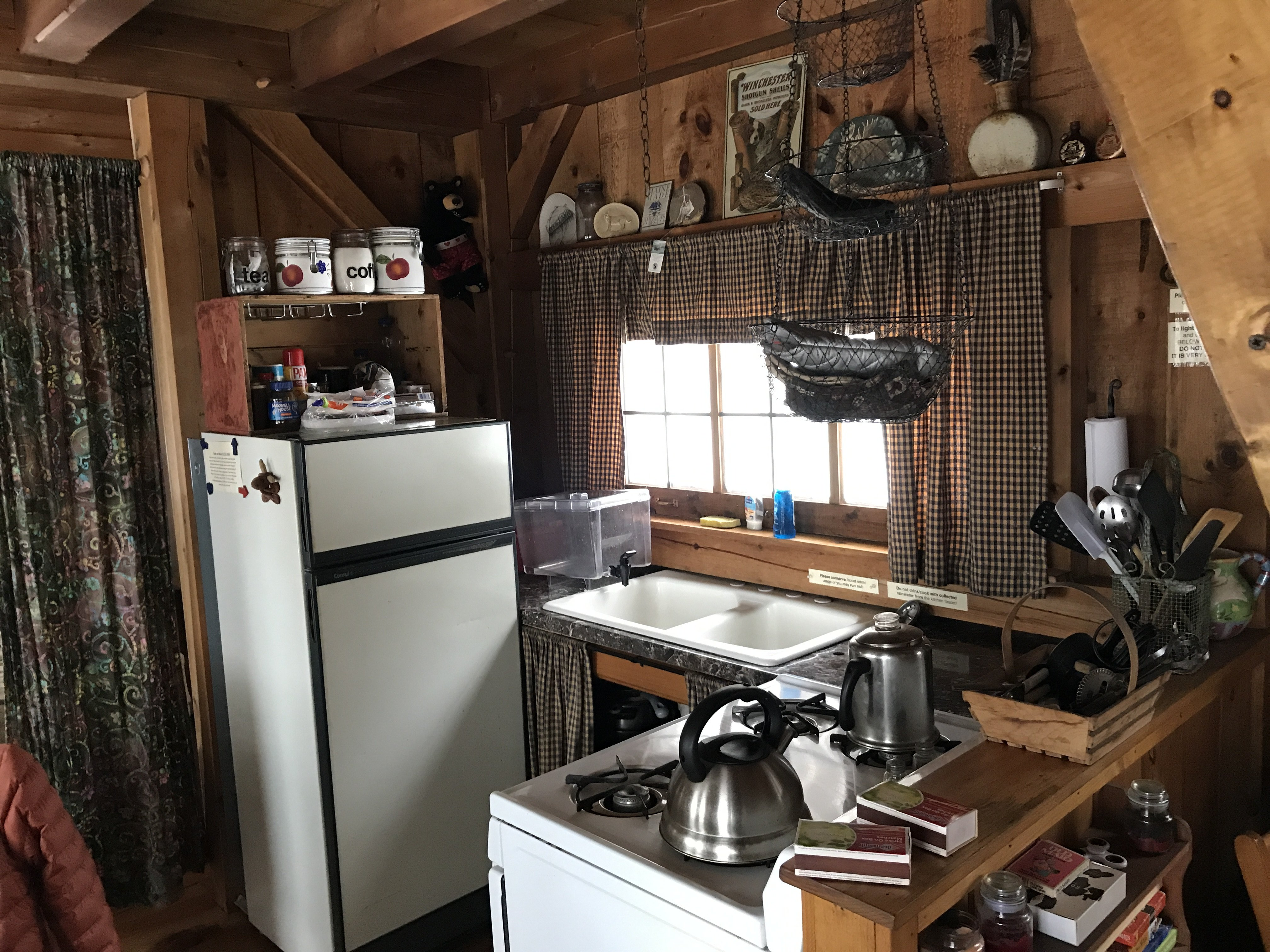 The kitchen at an off-the-grid cabin in Andover, Maine.