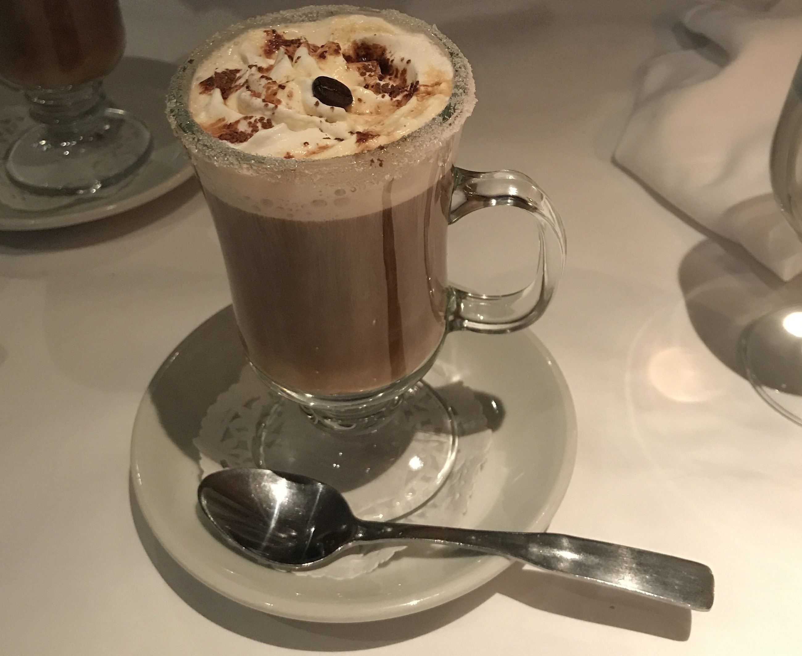 The Spanish Coffee made by a bartender at Ciccio Cafe in Quebec City, Canada.