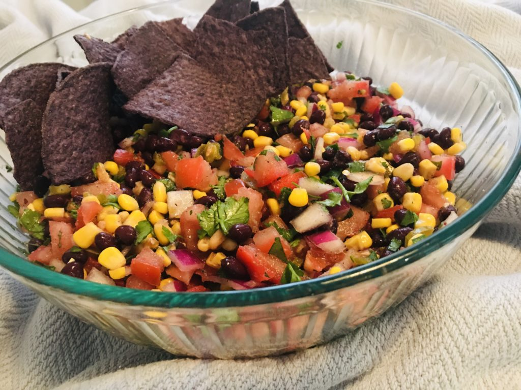 Black bean and corn salsa with tortilla chips