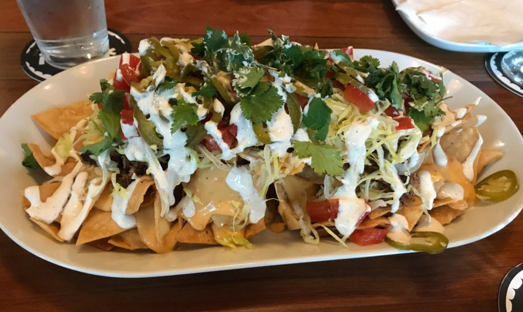 A plate of nachos at Foulmouthed Brewing.