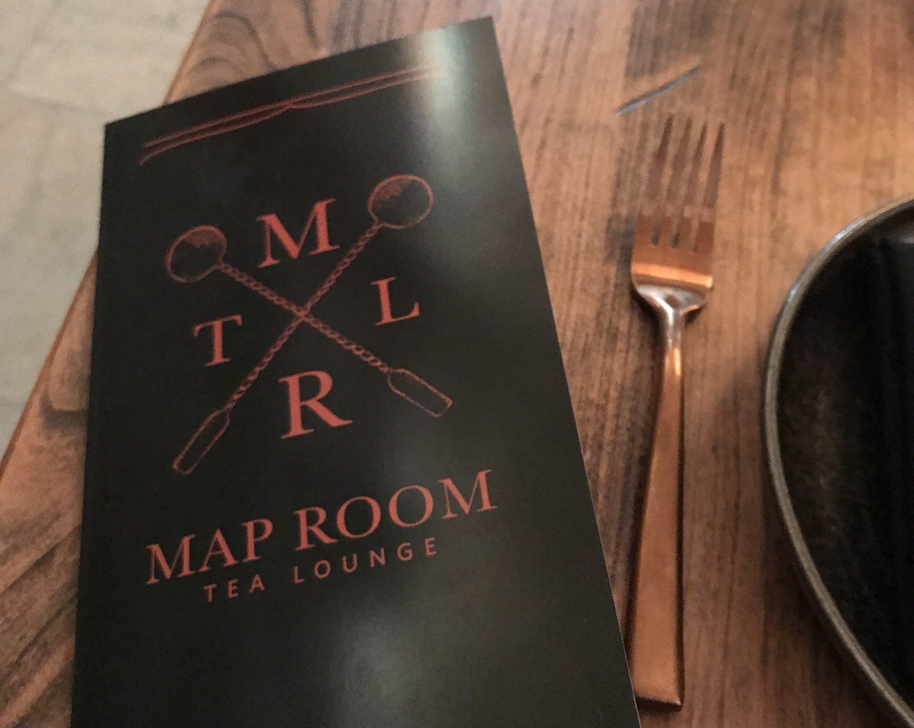 The Map Room Tea Lounge logo and menu.