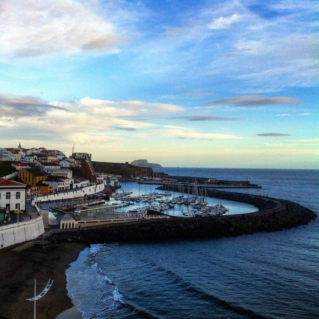 The city of Angra Do Heroismo, Portugal neighboring the Atlantic Ocean.