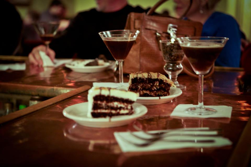 Drinks and dessert at The Bar of Chocolate in Portland, Maine.
