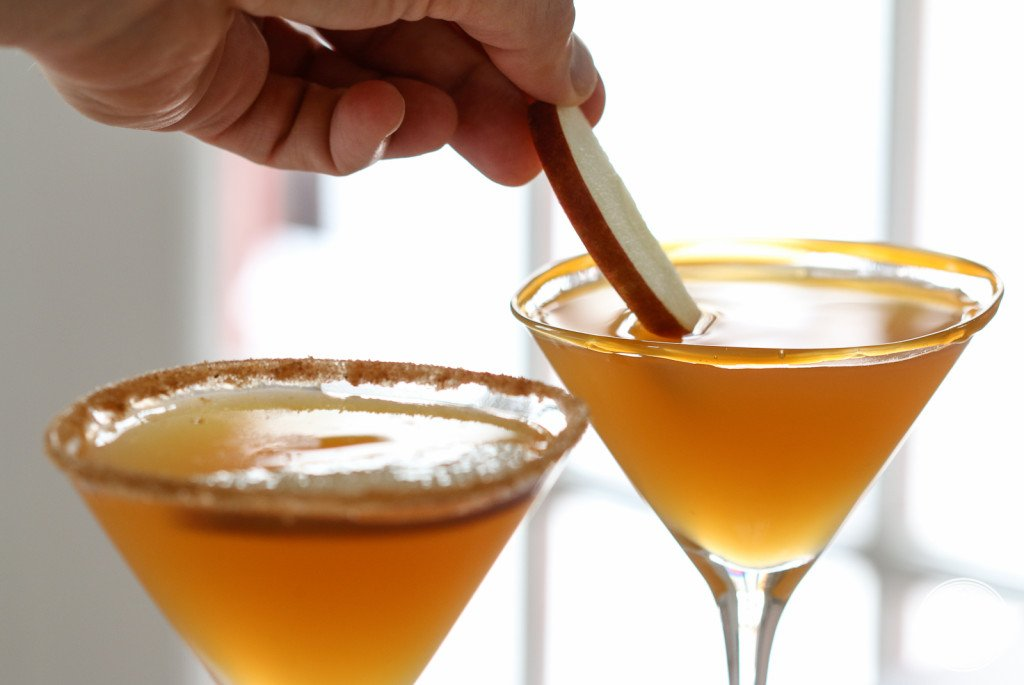 This caramel apple martini is a delicious fall cocktail.
