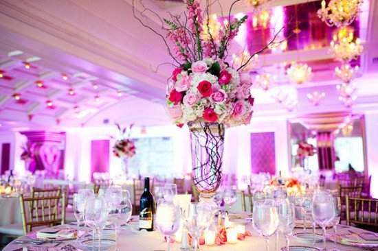A beautifully decorated wedding hall ready for the reception of an Instagram Wedding.