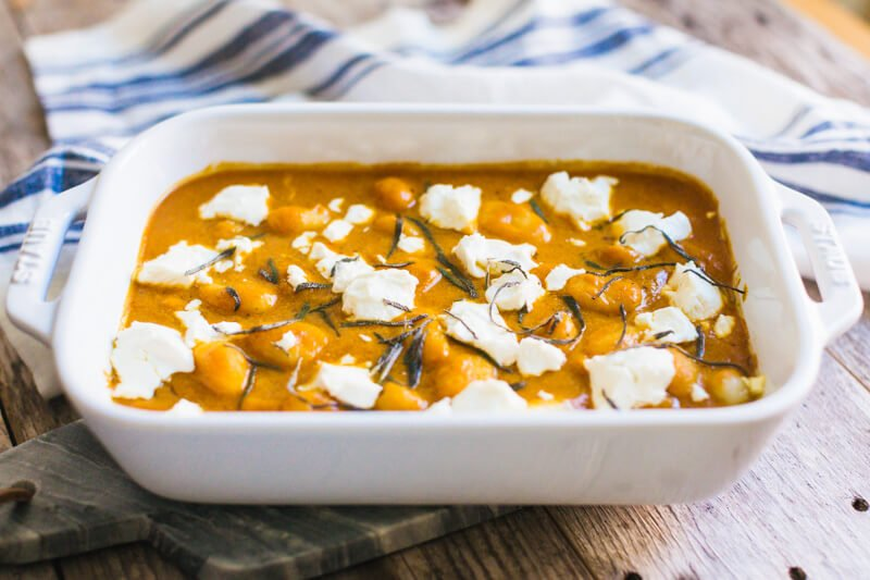 Pumpkin and goat cheese gnocchi bake is not traditional Thanksgiving food.