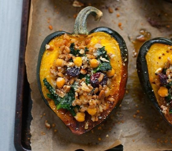 Stuffed acorn squash makes a delicious vegetarian Thanksgiving entree.