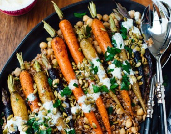 Roasted carrots, chickpeas, and farro make a delicious vegetarian Thanksgiving entree.