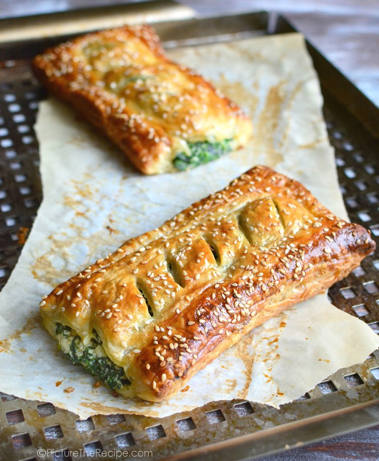Spinach and feta puff pastry rolls