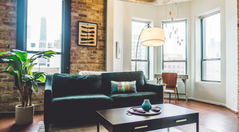 A lot of space, like in this big living room, is a pro of staying at an Airbnb