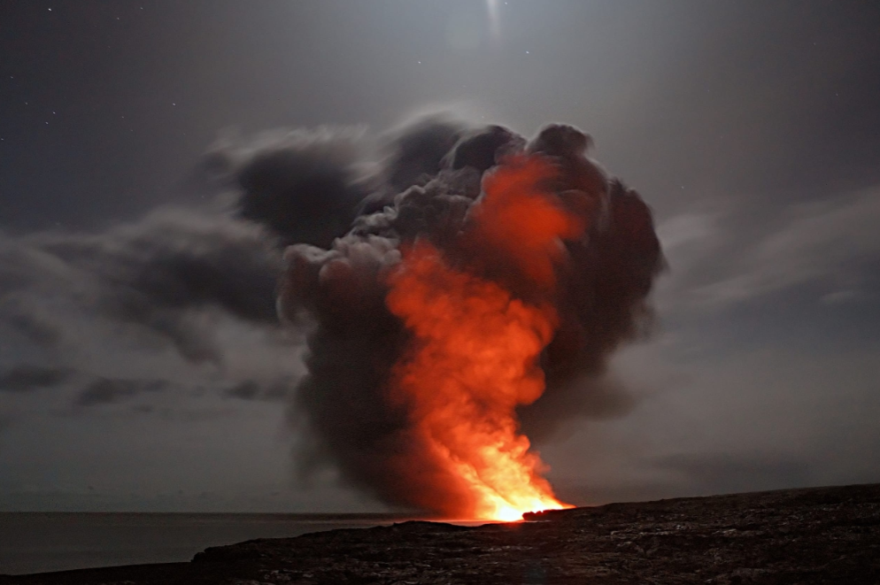 Fire and ash explosion due to humanity being at war