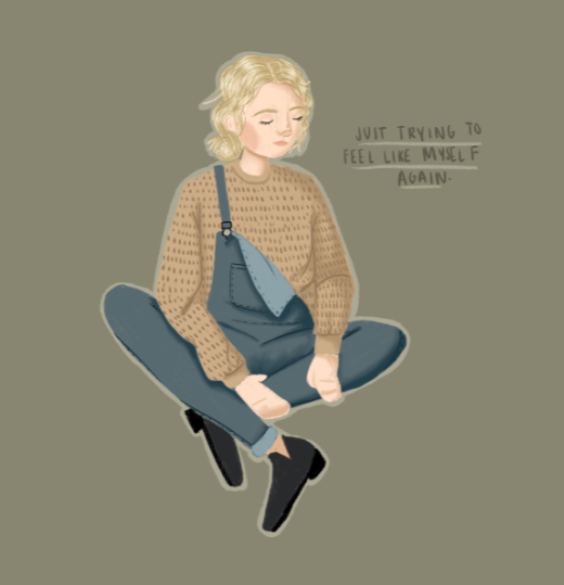 Just trying to feel like myself again illustration sparked by creative inspiration