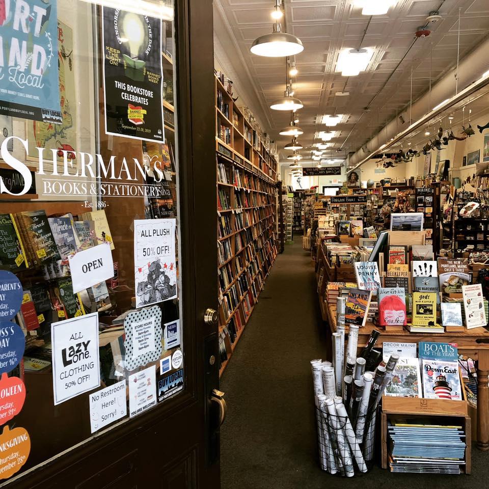 Sherman's Books & Stationery bookstore in Portland, Maine.