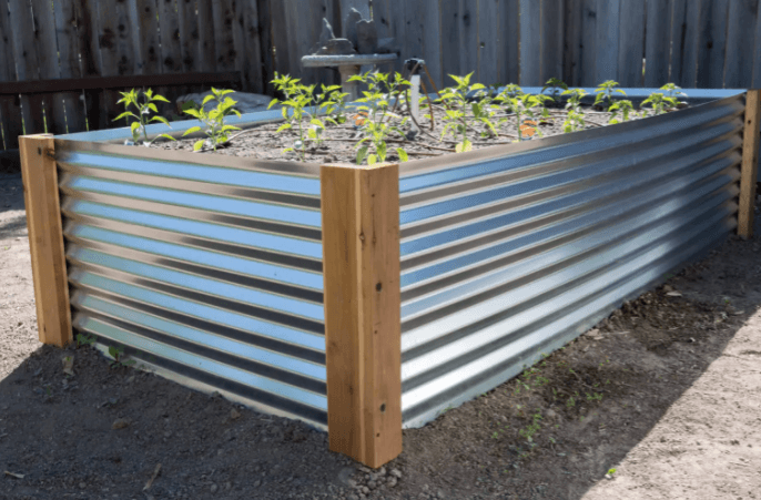 Metal raised garden bed