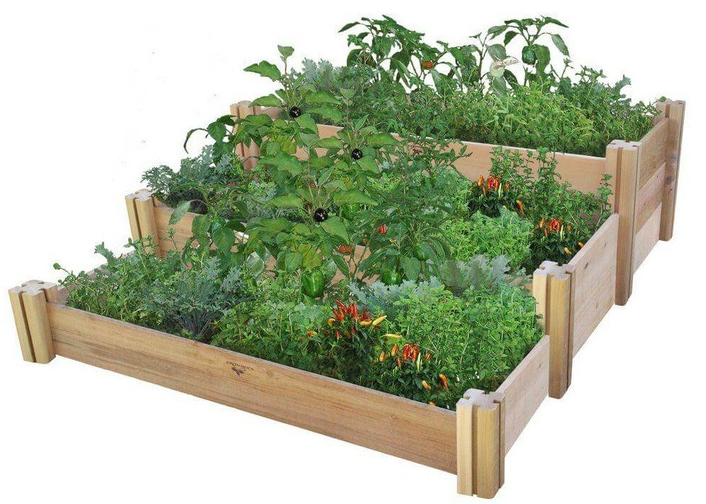 Multi-level rustic rasied garden bed