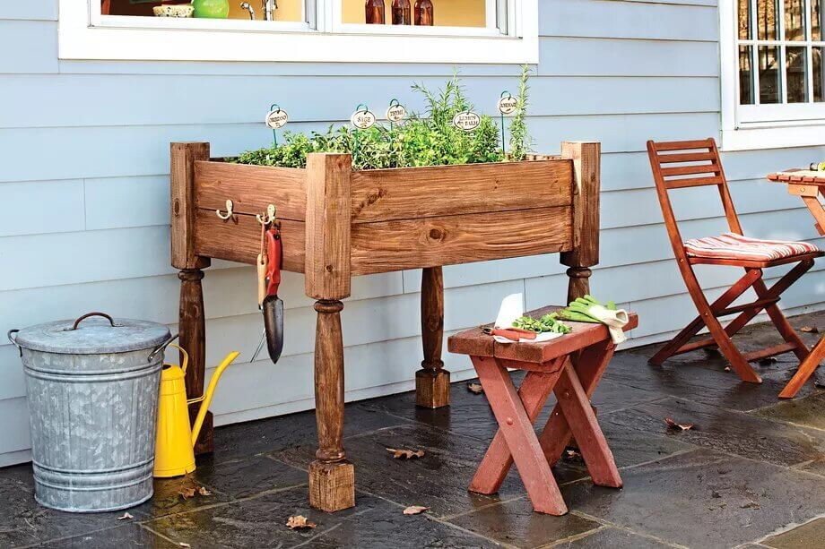 Deck post herb planter