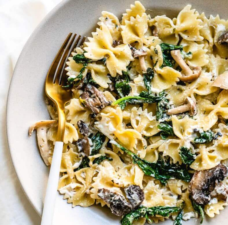 Mushroom pasta with goat cheese - a delicious and creamy goat cheese pasta recipe.
