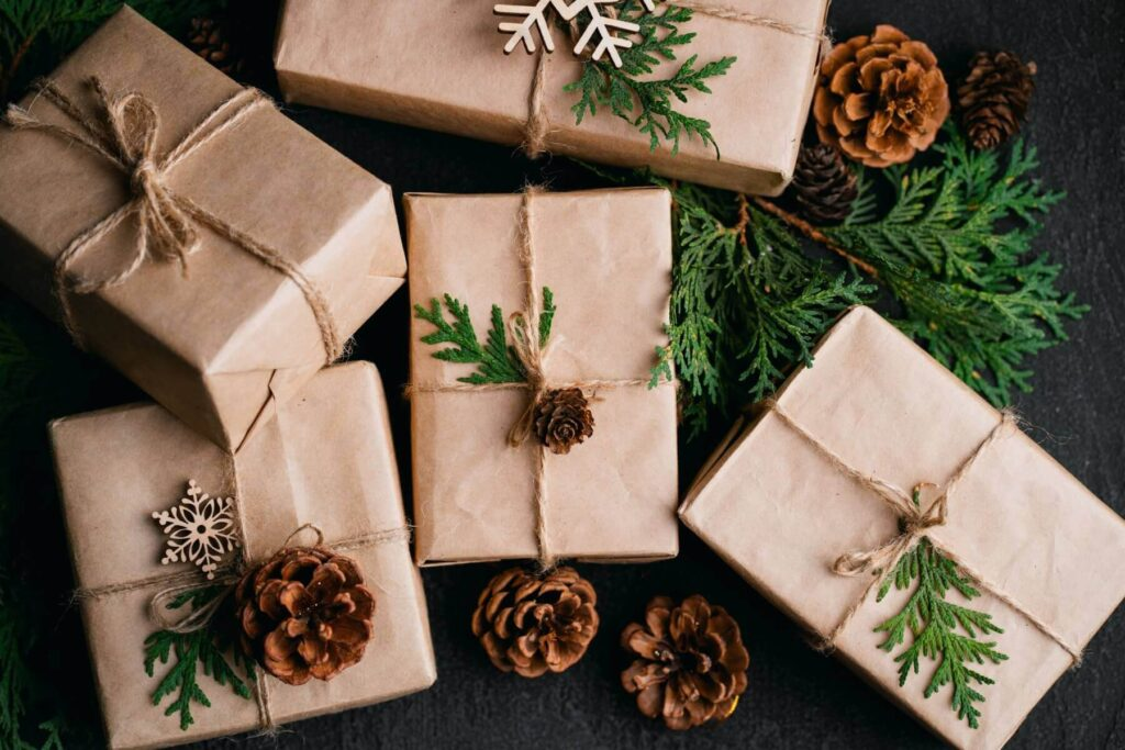 Reusing brown paper bags as gift wrap is much more sustainable than buying new wrapping paper.