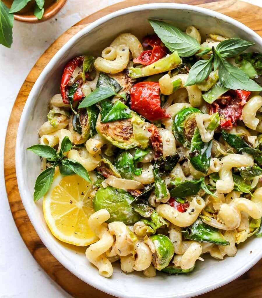30-minute creamy goat cheese pasta with Brussels sprouts