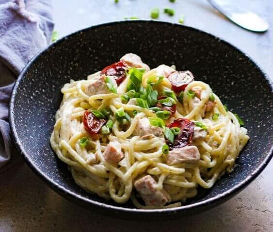 Creamy goat cheese salmon pasta is a delicious and easy weeknight meal