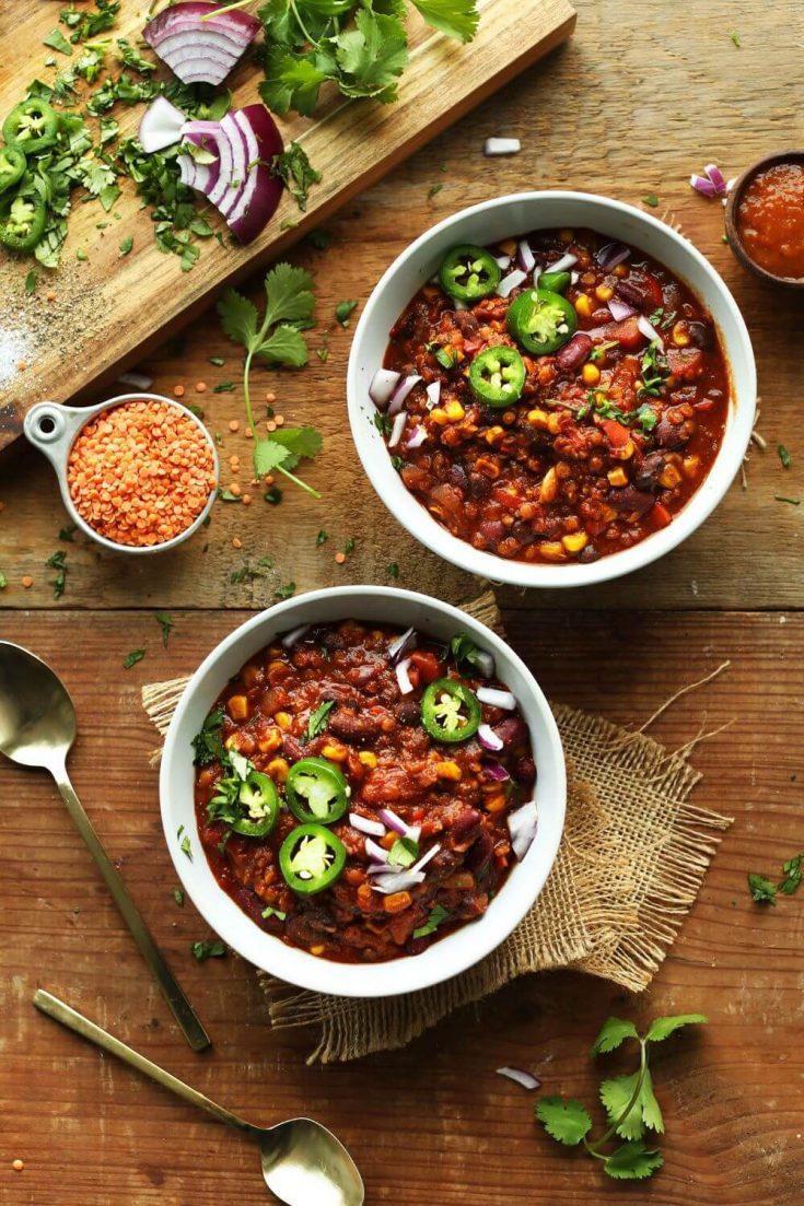 Two full bowls of 1-pot red lentil chili.
