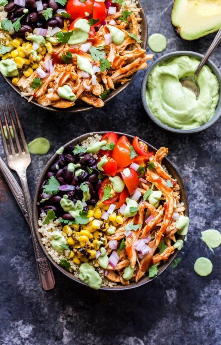 Two delicious servings of the barbecue chicken quinoa bowl.