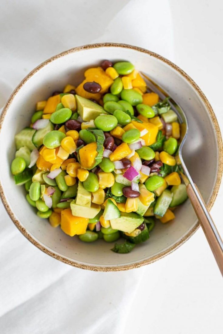 A delicious bowl of high-protein edamame mango salad.