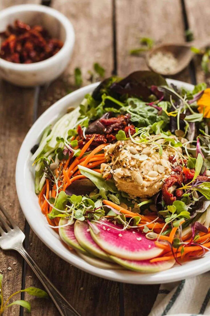 A delicious bowl of high-protein fresh vegan salad with hummus.