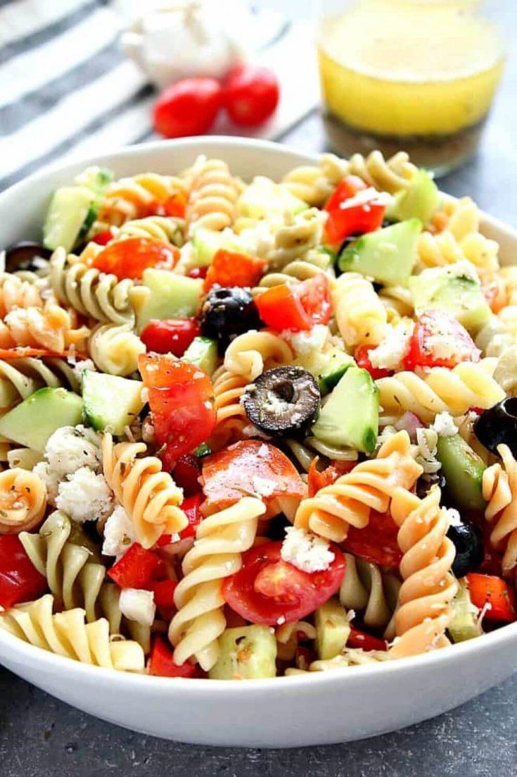 A closeup bowl of delicious Italian pasta salad.