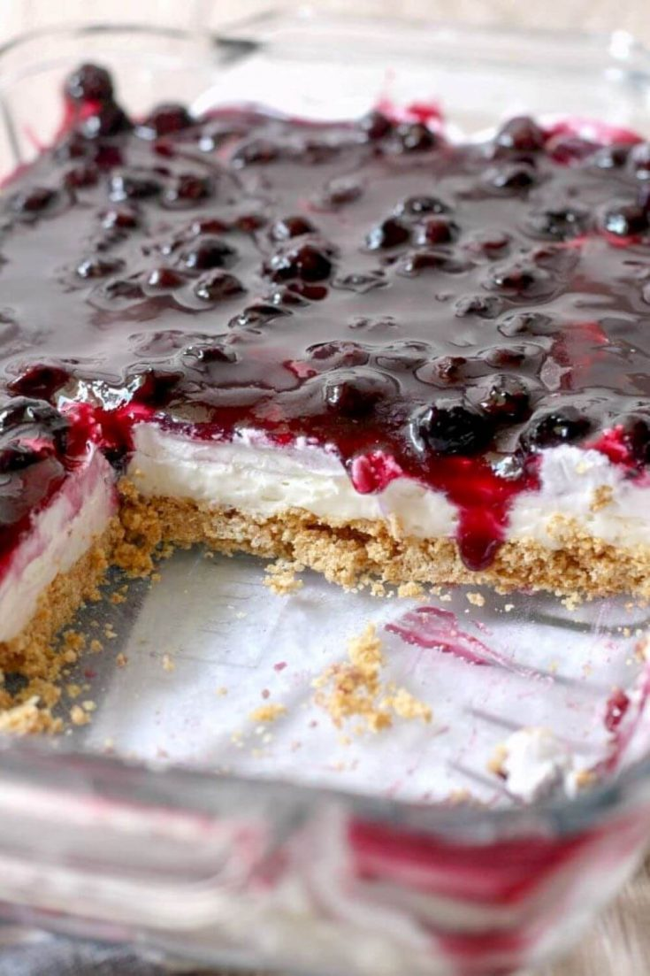 A large dish of delicious no-bake blueberry cheesecake.