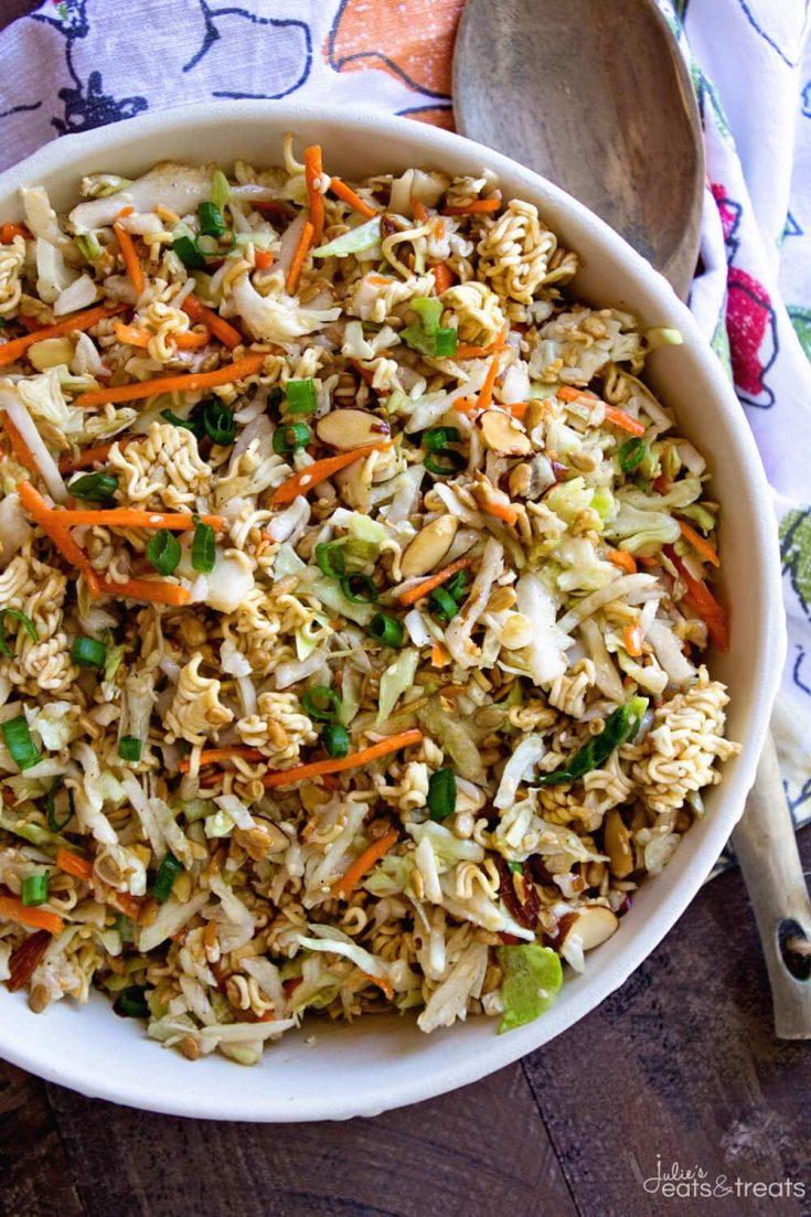 A large bowl of delicious Asian ramen noodle salad.