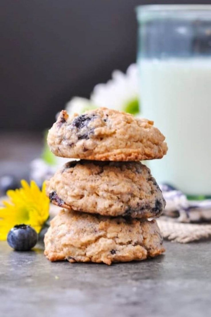 A stack of healthy blueberry muffin oatmeal cookies.