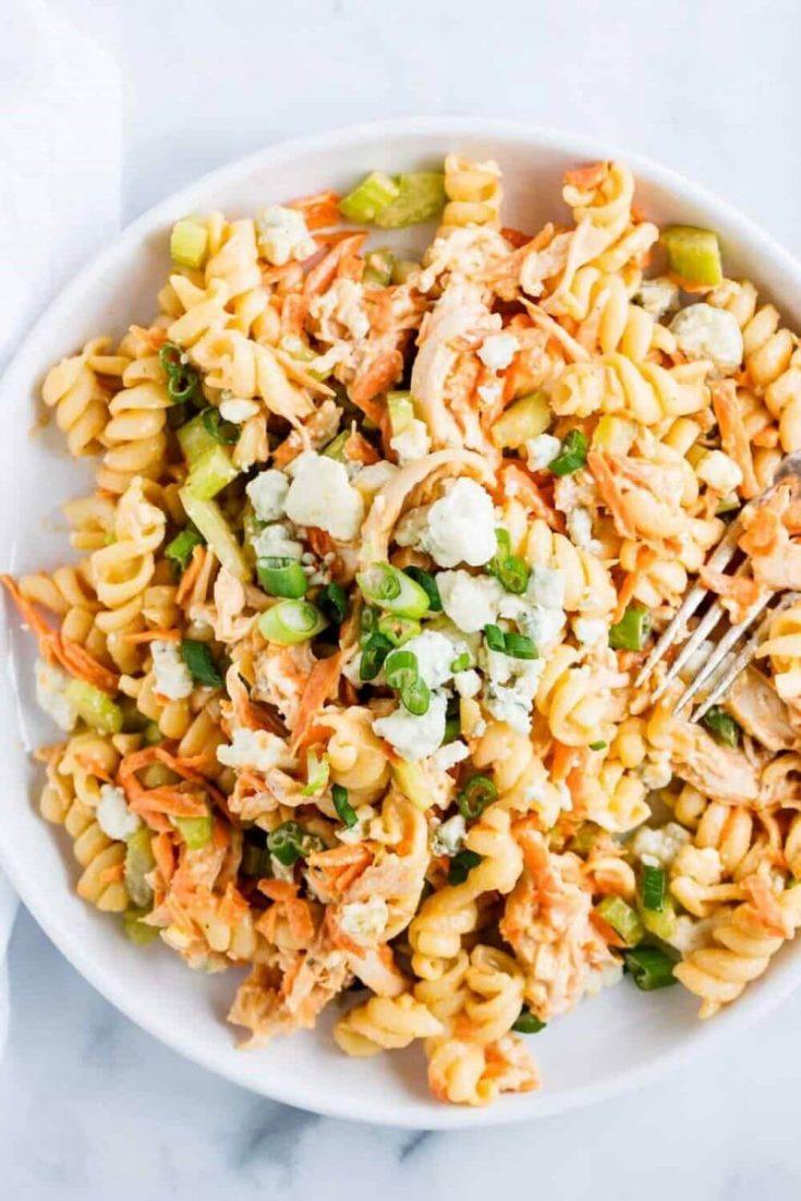 A full bowl of buffalo chicken pasta salad.