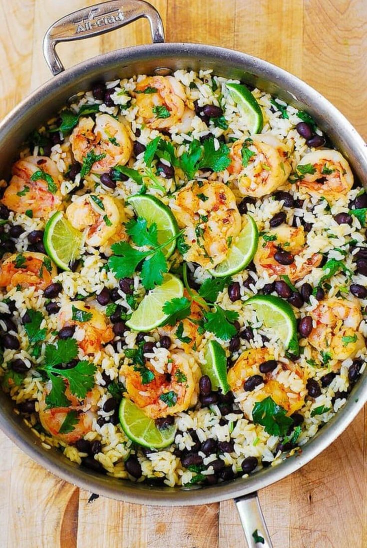 A full pan of cilantro lime and black bean shrimp and rice skillet.