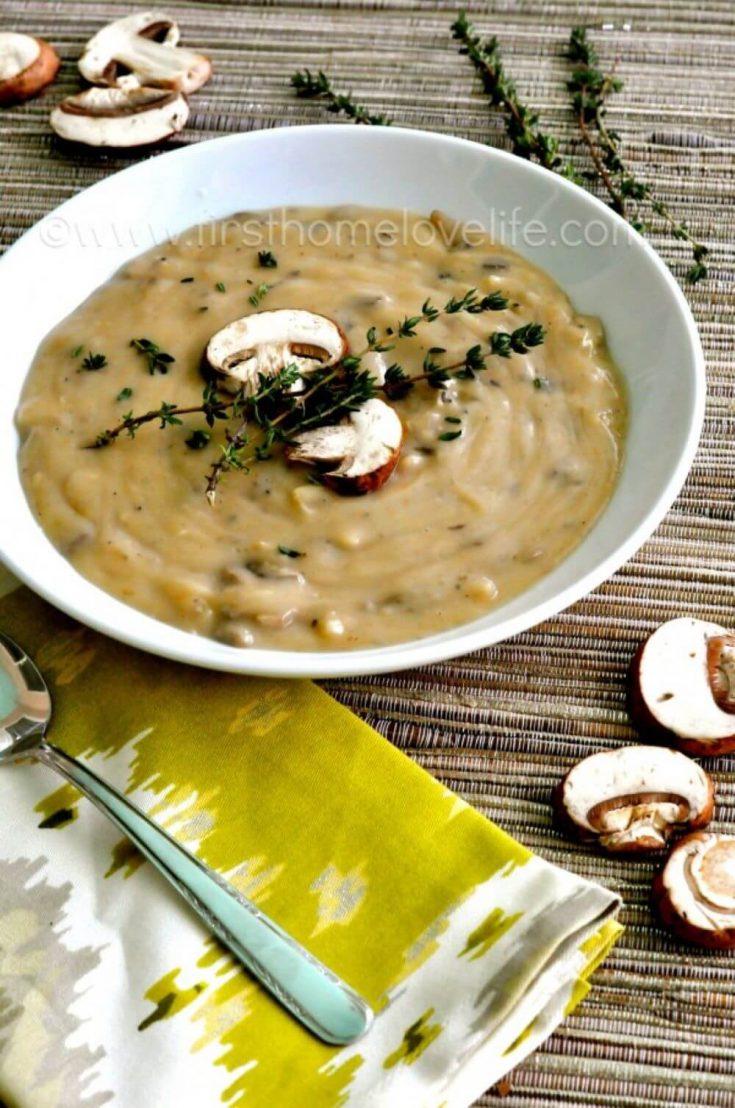 A delicious bowl of creamy wild mushroom soup.