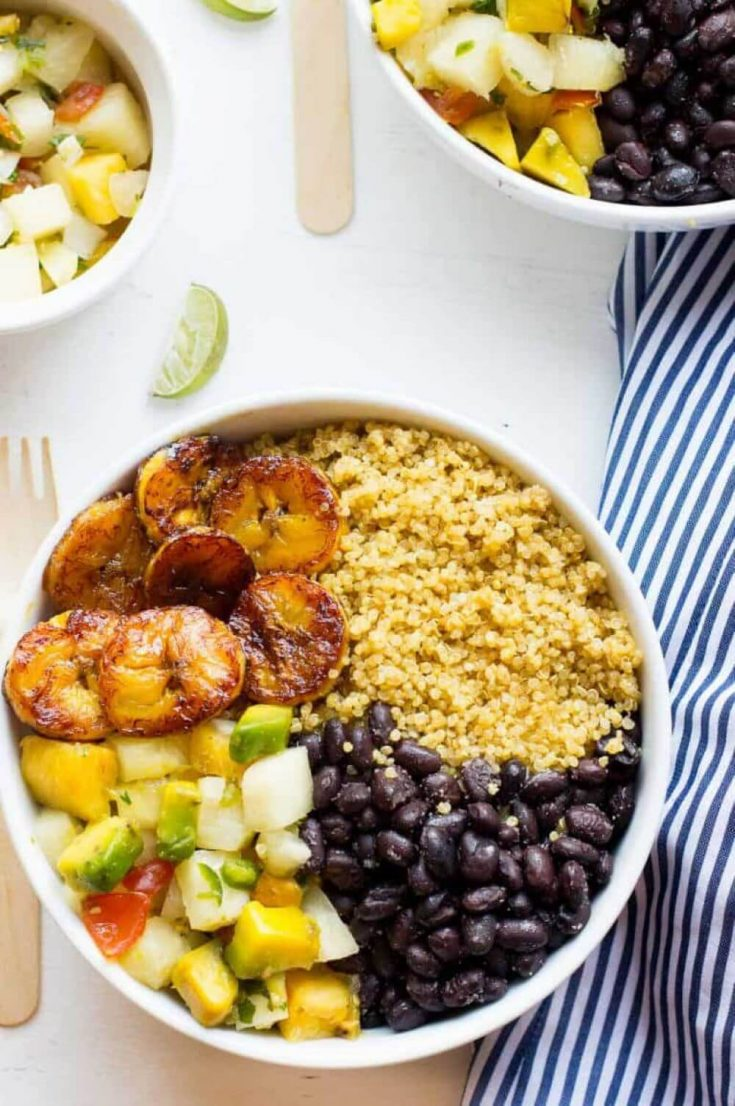 A delicious serving of a Cuban quinoa bowl with pineapple salsa.