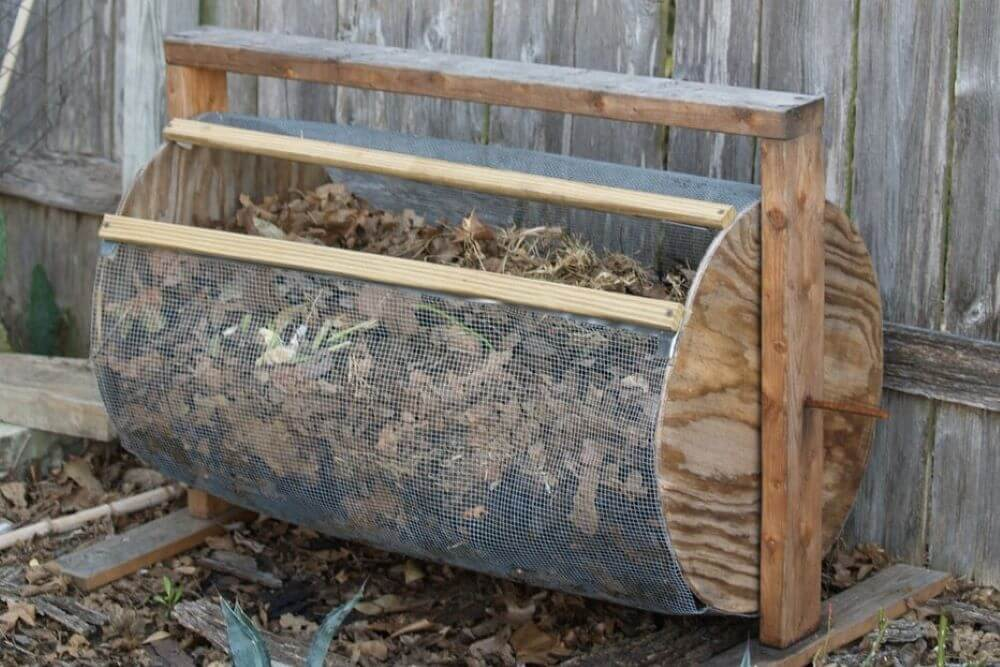 A closeup look at a full drum style composter.