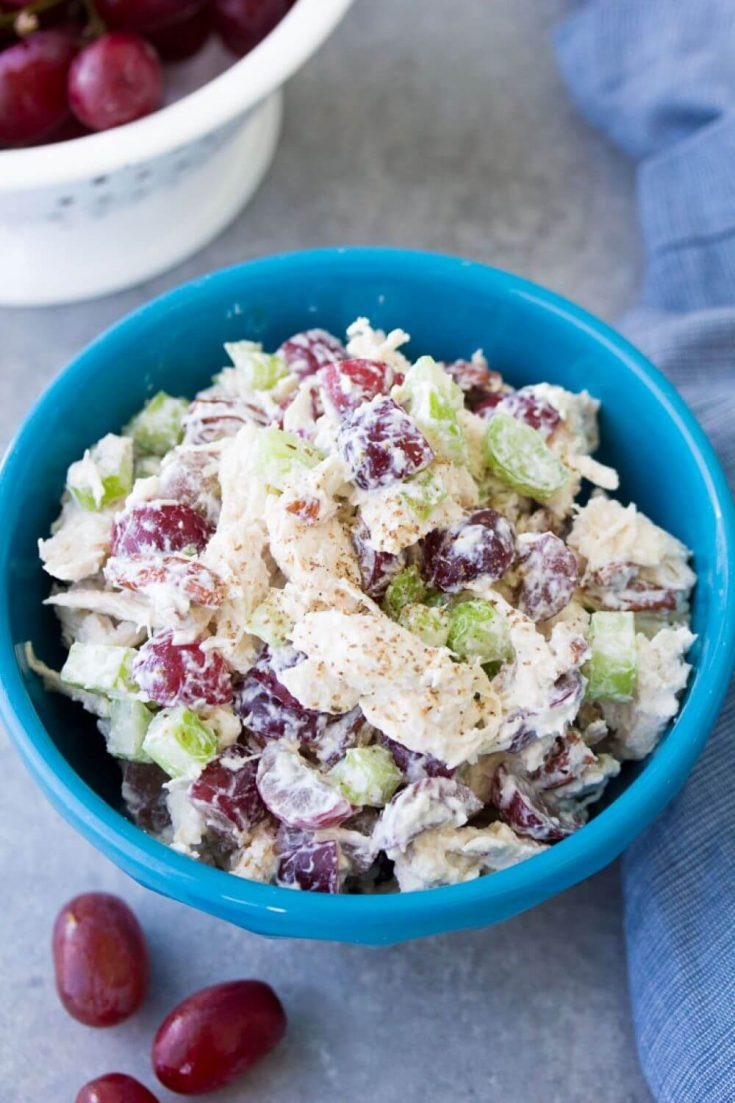 A full bowl of easy chicken salad.