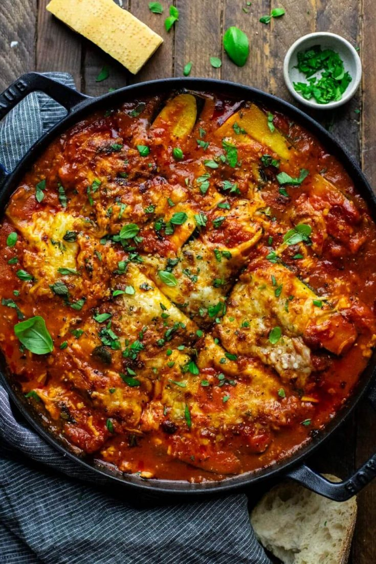 A large iron cast skillet of easy zucchini lasagna right out of the overn.