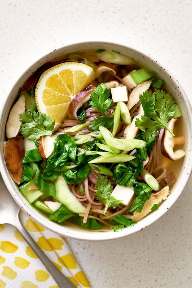 A delicious bowl of gingery tofu slow cooker soup.