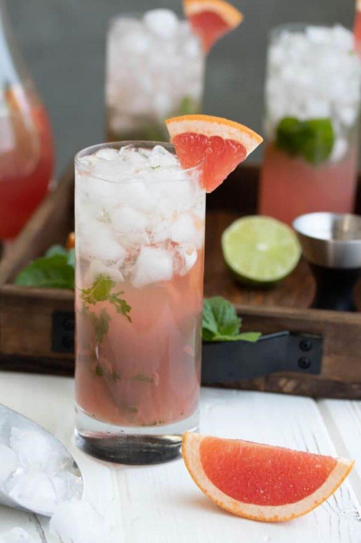 A delicious grapefruit champagne mojito.