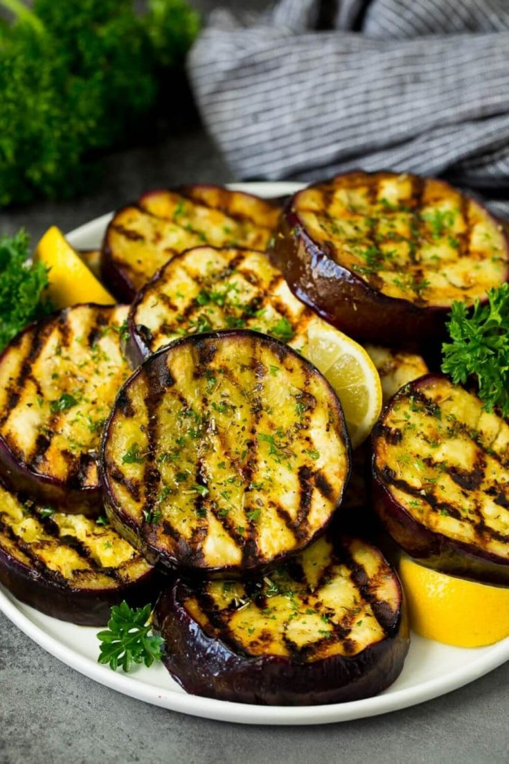 A large platter of delicious and healthy grilled eggplant.