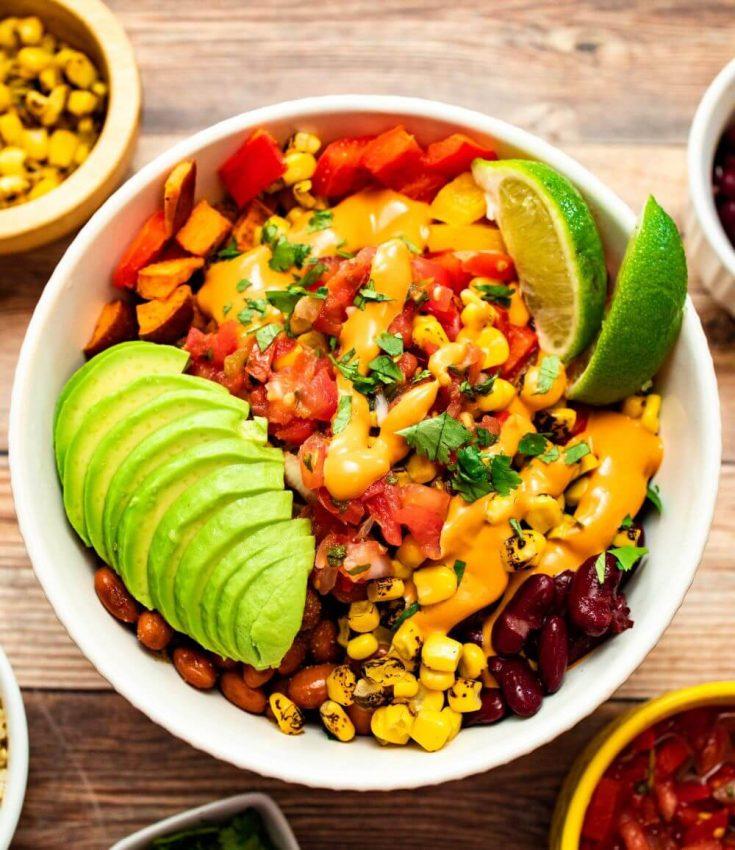 A large bowl of high-protein vegan fiesta salad.