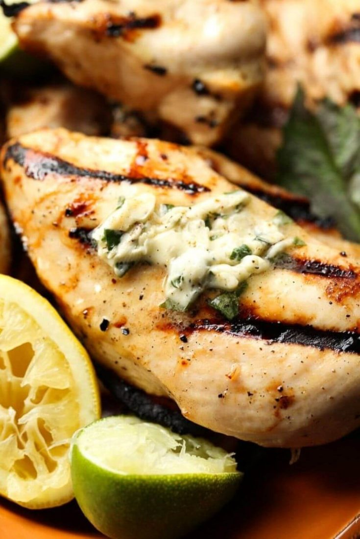 A breast of honey citrus grilled chicken topped with basil butter.