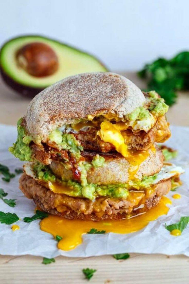 A stack of delicious huevos rancheros breakfast sandwiches.