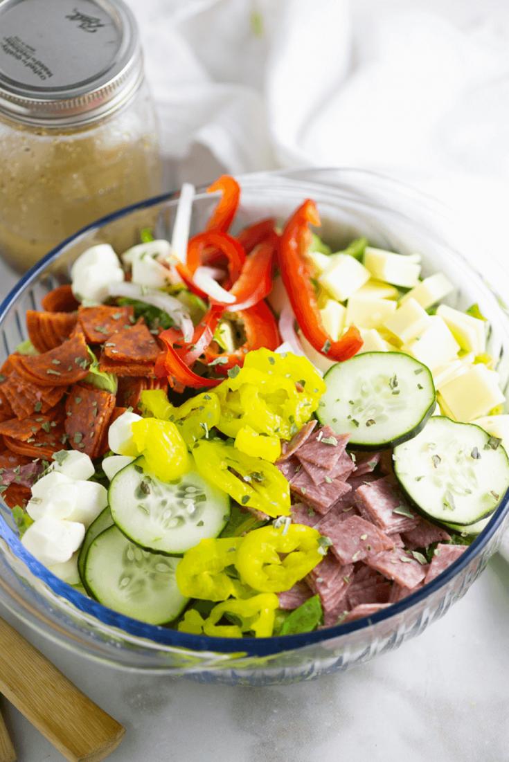 A large bowl of delicious Italian sub salad.