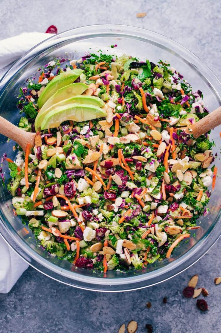 A large mixing bowl of high-protein kale detox salad.