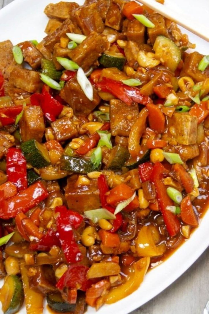 A large saucy platter of delicious kung pao tofu.