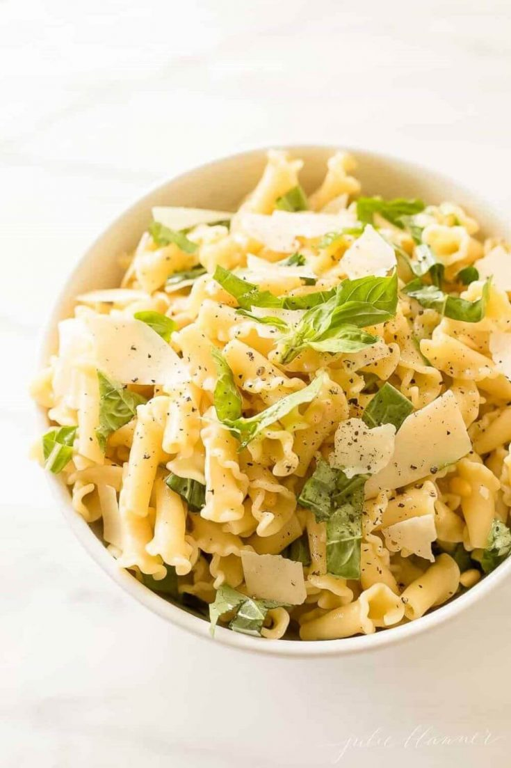 A full bowl of healthy basil lemon pasta salad.